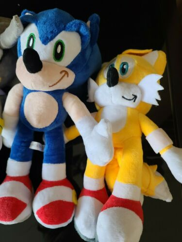 """Set of 4 Sonic the Hedgehog Plush TOY Knuckles Shadow Tails 12/"""" Inch USA Stock"""