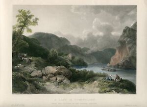 Inglaterra-A-Lake-IN-Cumberland-Engraved-By-W-Richardson-1840