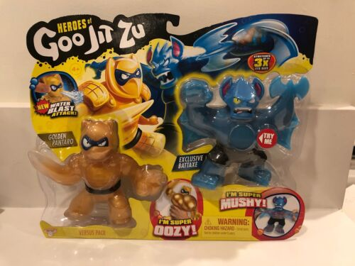Heroes of Goo jit zu Water Blast Versus 2 Pack Golden Pantaro vs battaxe NOUVEAU!
