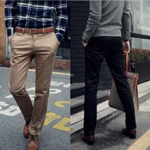 Korean Fashion Men Slim Fit Solid Dress Pants  Flat Front Slacks Trousers New