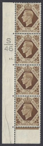 GB SG475 KGVI 1 BISTRE BROWN MINT COLUMN OF 4 WITH CTRL S46 CYLINDER 16 DOT