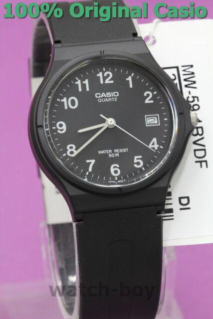 MW-59-1B Black Genuine Casio Unisex Watches Date Resin Band 50M Brand-New