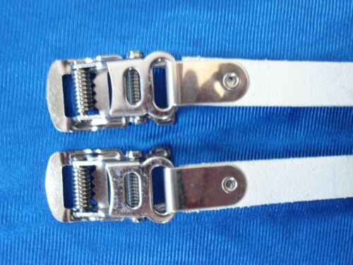 Vintage style Campagnolo shield logo Leather toe straps and buttons