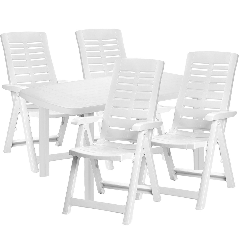 Mojawo ® 5 Pezzi Set da Bistrot plastica tavolo Bistrot rettangolare 140x90x72cm Bianco