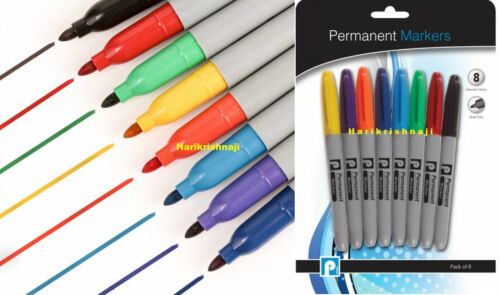 8 plumas marcador permanente Punta De Bala De Color Surtidos CD como Sharpie Impermeable