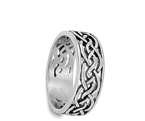 Celtic Infinity Knot Hommes Anneau Mariage 316 L neuf en acier inoxydable Band Taille 8-13