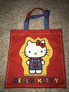 7e4411dcadff Vintage 1976 Sanrio Hello Kitty Cloth Tote Bag Purse Japan Red Blue ...