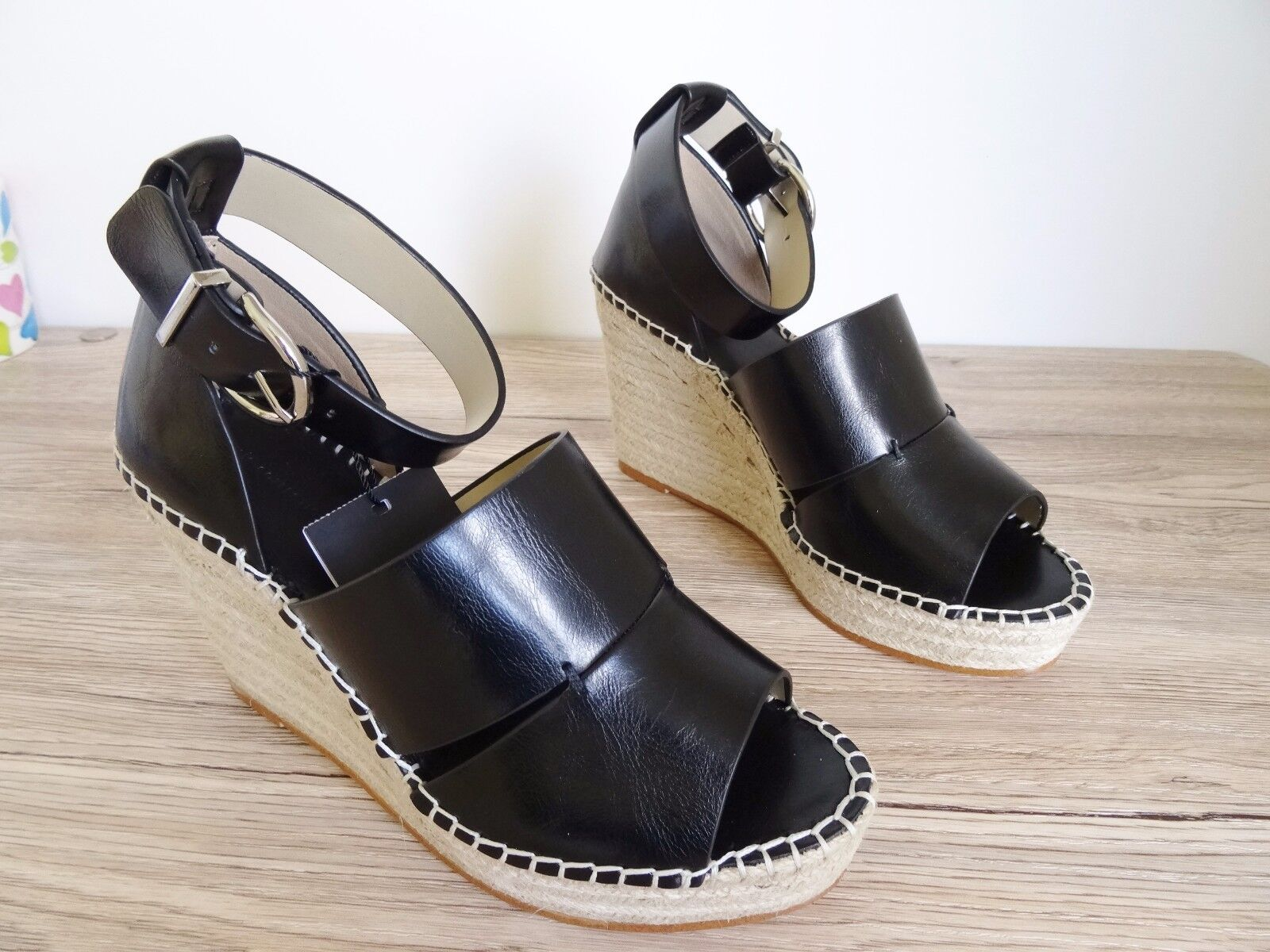 Zara Negro Cuña Sandalias con correa en el tobillo Jude Size UE 37 EE. UU. 6,5