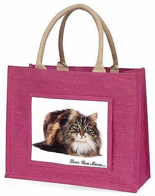 schön Katze' Liebe, die sie Mama' groß pink Einkaufstasche WEIHNACHTEN Pres ,