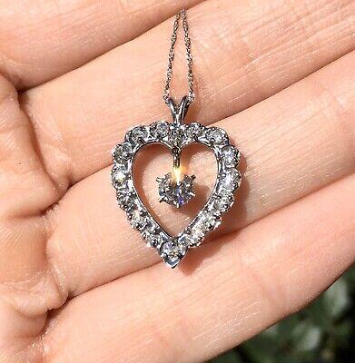 14K Yellow Gold Vintage Diamond Heart Pendant