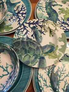 12 Piece Marine Coastal Sea Life Dinnerware Set Melamine