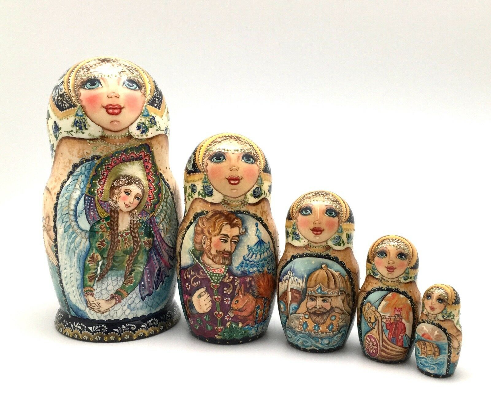 Russian Nesting Doll Hand Carved Hand Painted FAIRY TALE
