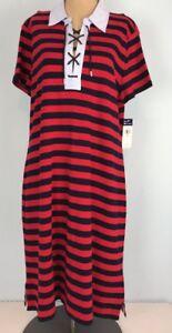 a4b0f2b787a Chaps Sailor Bay Striped T-shirt Dress Red Blue Laced Collar XL MSRP ...