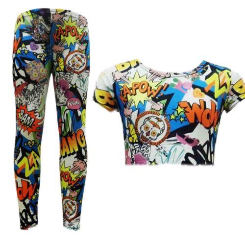 New Girls Comic Print Stylish Crop Top /& Comic Book Fashion Legging Set 2-13 Yr