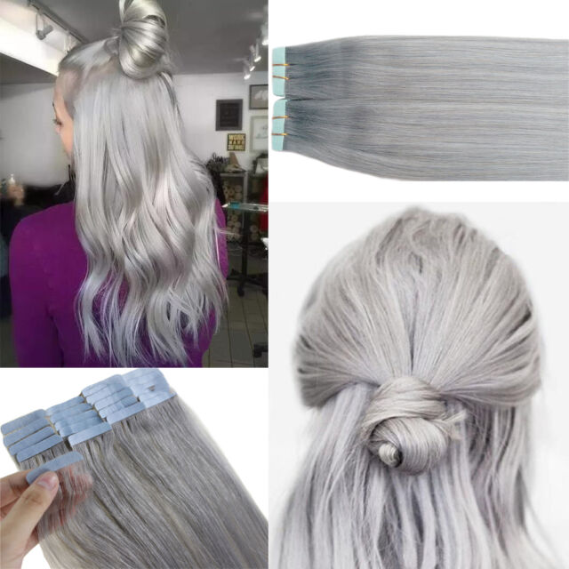 Seamless Tape In Skin Weft Remy Human Hair Extensions Silver Gray