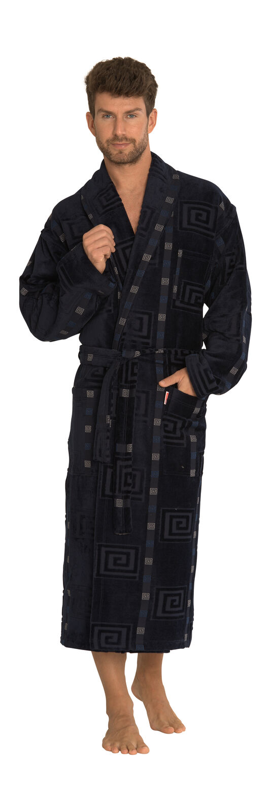 Mens Soft Warm Cotton Self Tie Long Bathrobe Dressing Gown Loungewear