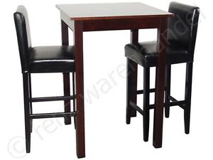 2 barhocker mit bartisch set essgruppe stehtisch schwarz bistrotisch 75x75x108 ebay. Black Bedroom Furniture Sets. Home Design Ideas