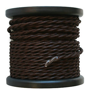 Brown-Twisted-Rayon-Covered-Wire-Antique-Style-Cloth-Lamp-Cord-Vintage-Lights