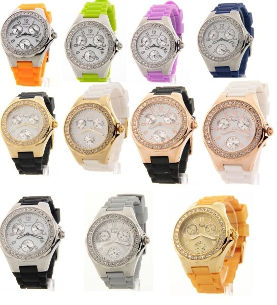 Invicta Womens Crystal Bezel Angel Polished Steel 3 Eye Day Date Rubber Watch