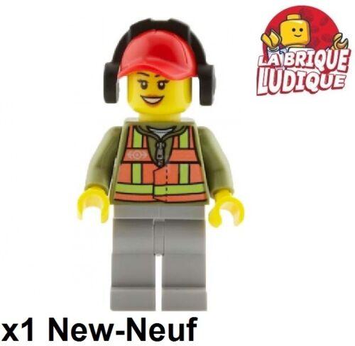 Lego Figurine Minifig Forklift Driver Train Headphone Female Trn236 60052 New