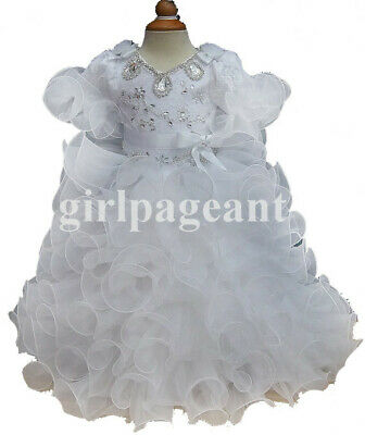 pink Infant//toddler//baby//children beading Pageant Dress 053-1 with hairbow