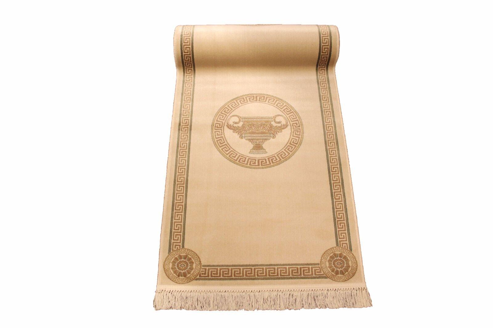 Tapis coureur 80x300 cm Beige Art-soie méandres Méduse amphore amphore amphore Carpet versac | Online Store  e9efdc