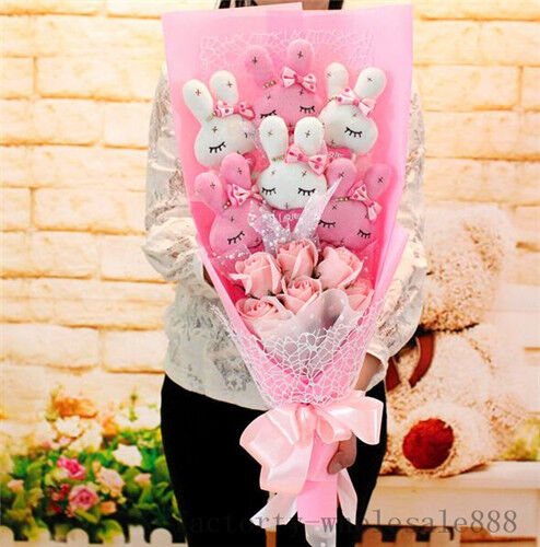 Valentine Gift 6pcs Rabbit Plush Toys Dolls flower Xmas Birthday Creative Box US