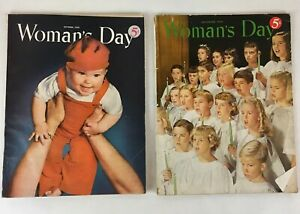 Lot-of-2-Vintage-1950-Woman-039-s-Day-Magazines-Food-Fashion-DIY-Articles-amp-Ads