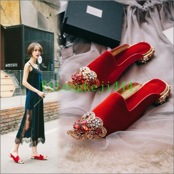 Womens Luxury Slipper Mules Slide rhinestone rhinestone Slide Leather Backless Loafer Shoes Vogue 63649c