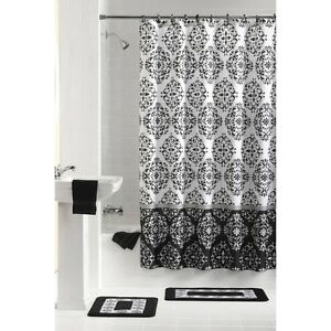 Mainstays Bathroom Set Shower Curtain Rings Rugs 15 Pieces Ebay