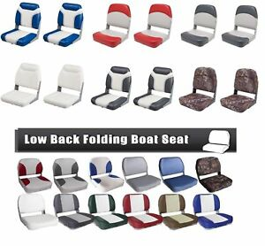 Marine-Boat-Seat-2-Pack-Low-Back-Padded-Bass-Folding-Fishing-Chair-Bucket-Seats