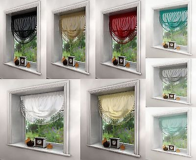 Maisie Voile Swags With Macrame Detail Edge,8 Great Colours,fast Delivery