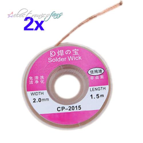 2Pcs 1.5m 2.0mm Solder Wick Remover Desoldering Braid Wire Sucker Cable Fluxed