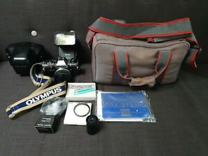 Olympus-OM10-35mm-Film-Camera-Manual-Adaptor-Zuiko-50mm-F1-8-Lens-Extras