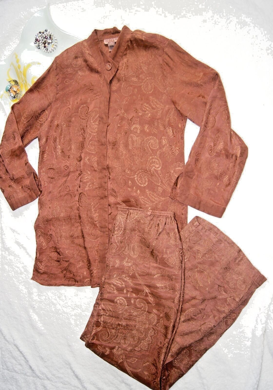 Citron Santa Monica Set Tunic Top (S) Pants (M) Long Sleeves 2 Pc Set Linen Silk