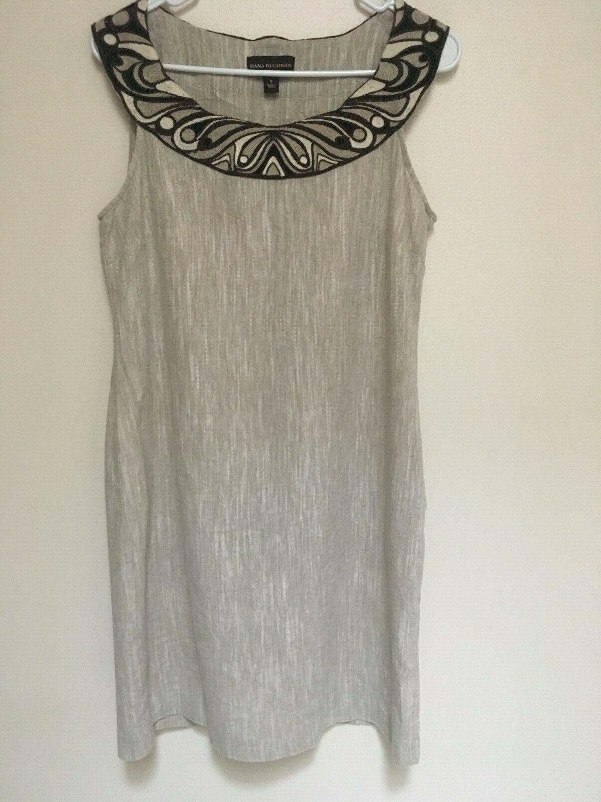 DANA BUCHMAN Womens Embroid Scooped Neck Sleveless Beige Linen Blend Zipper VGC