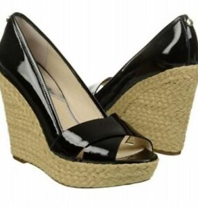 NIB-Michael-Kors-Cassandra-Wedge-Peep-Toe-Sandal-Black-Women-039-s-Sz-8-9-10-145