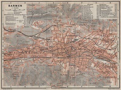 Wuppertal Antique Town City Stadtplan Conscientious Barmen Germany Karte 1906 Old Map Agreeable Sweetness