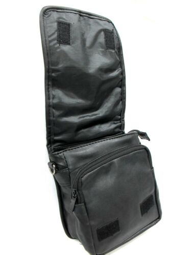 Black Soft Lambskin Leather Cross Body Shoulder Bag Flap Belt Loop Light Weight