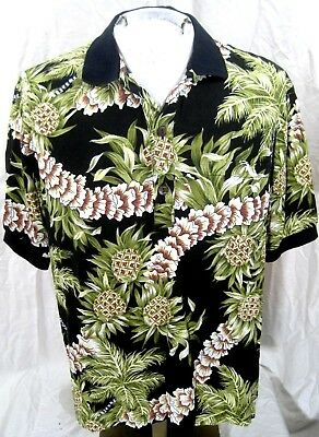 Hawaiian ALOHA shirt L pit to pit 25 HILO HATTIE cotton rayon floral polo