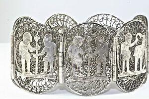 Image Is Loading Vintage Egypt Egyptian Sterling Silver Filigree Bracelet