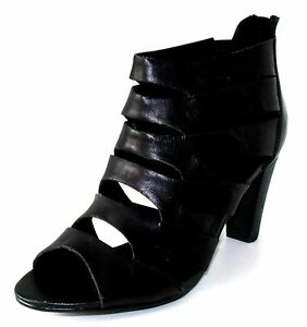 Talon 39 Zip Haut Sandales Cuir Noir Femme Escarpins 3 Montantes R5A4jL