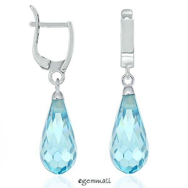 Sterling Silver Leverback Dangle Drop Birthstone Earrings w/ CZ Swiss Blue 53221