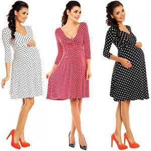 0cea55187f1 Zeta Ville Women s Maternity Wrap V-neck Polka Dot Dress Summer Spot ...