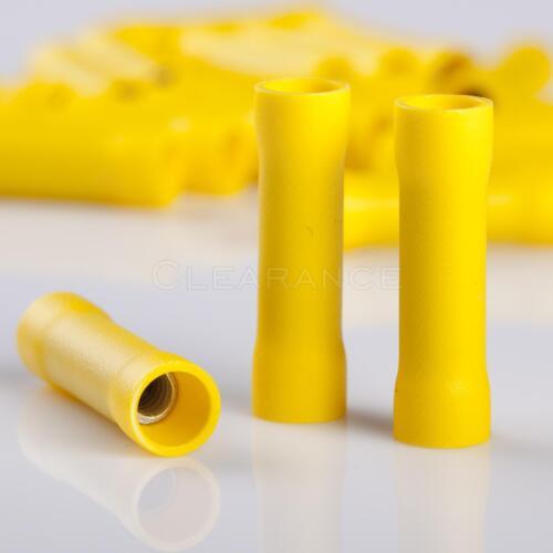 New 100 PCS Yellow Vinyl Butt Connector 12-10 Gauge 12 Volt Electrical