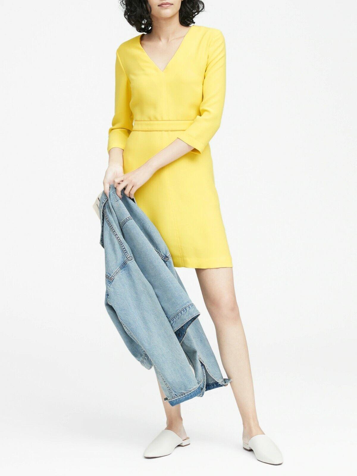 Banana Republic Solid V-Neck Fit-and-Flare Dress,Gelb Größe 18    N0508