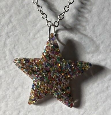 Silver Large Star Glitter Charms Necklace D204 Glitter Pendant Chain