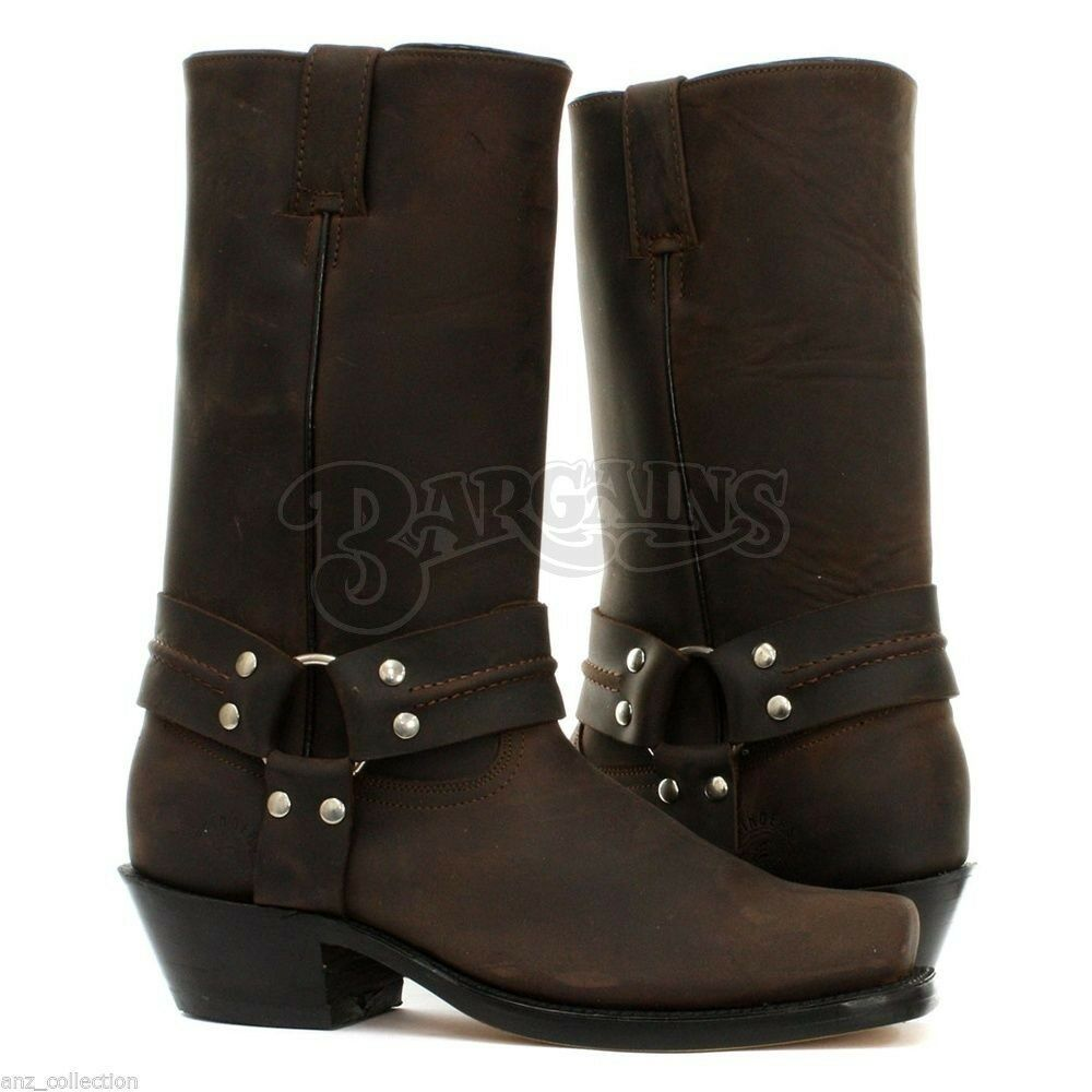 Grinders Harness Hi Western Brown Unisex Biker Cowboy Goth Ankle Leather Boot