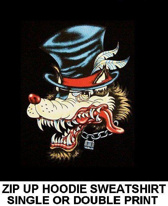 WILD LONE WOLF TOP HAT TATTOO WOLFMAN CHAIN BIKER PATCH ZIP HOODIE SWEATSHIRT 52