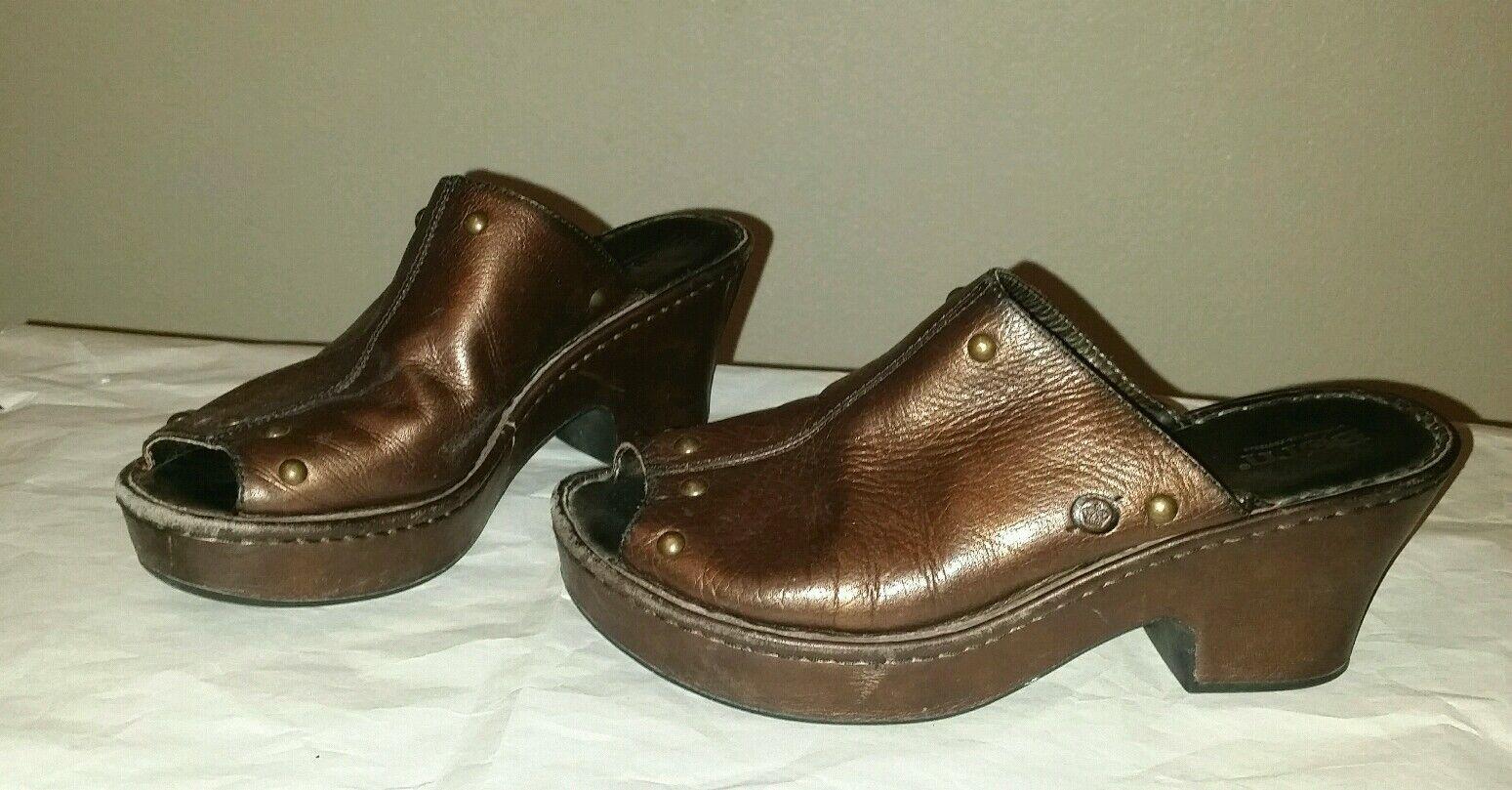 Cute Bronze BORN Sz 9 40.5 Peep Toe Slides Mule shoes Covered Heel and  Platform